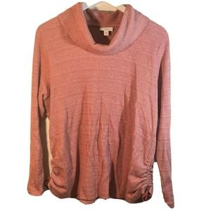 J. Jill Pink Cowl Neck Ruched Sleeve Knit Sweater